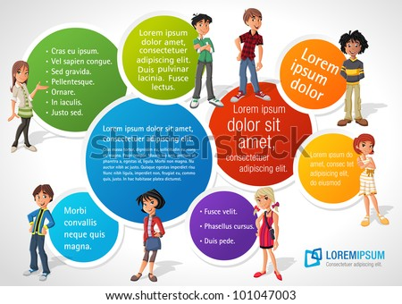 Colorful template for advertising brochure with teenager students - stock vector