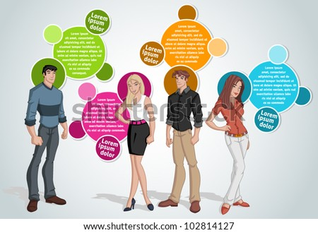 Colorful template for advertising brochure with young people - stock vector