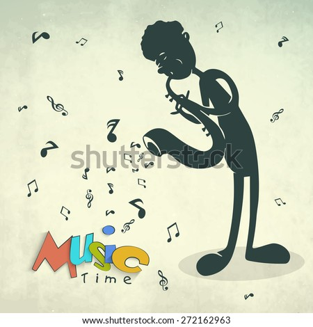 Colorful text Music Time with illustration of a boy playing saxophone on musical notes grungy background. - stock vector