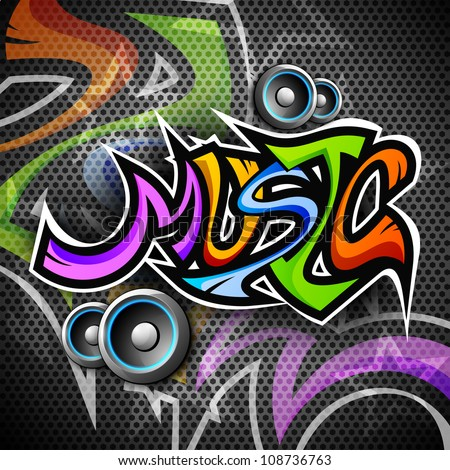 Colorful text Music with speakers on creative background. EPS 10. - stock vector