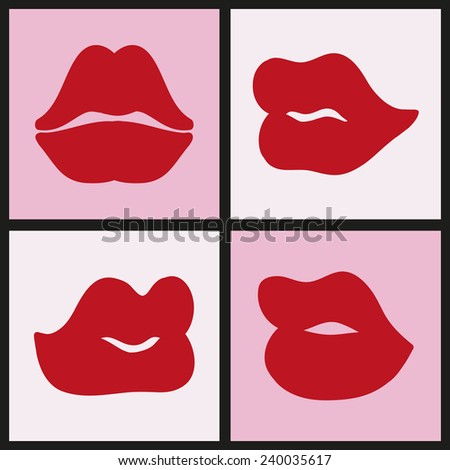 Colorful texture with kisses. Pop art lips, icons set, vector illustration - stock vector
