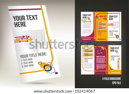 colorful three fold brochure template - stock vector