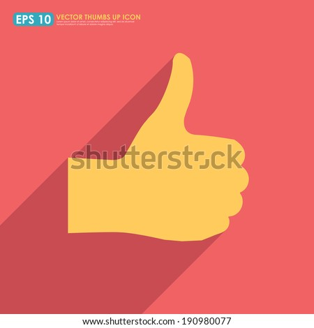 Colorful thumbs up icon with shadow  - like & favorite concept - stock vector