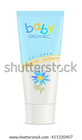 Colorful toothpaste tube isolated on white. Vector - stock vector