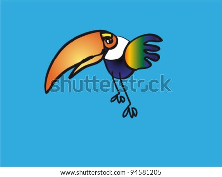 Colorful toucan on turquoise backdrop - stock vector