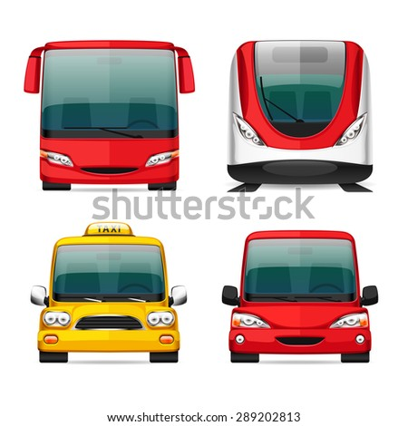 Colorful Transportation Icons for Your Delivery and Travel Projects. Bus, Train, Taxi and Red Car. Isolated on white background. - stock vector