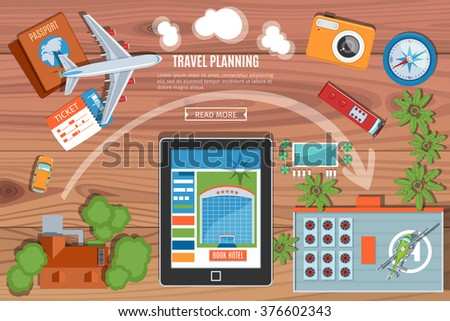 Colorful Travel Planning Vector Banner. Desktop With  Camera, Plane, Passport, Car, Tablet PC, Bus  And Buildings Icons. Top View. Flat Lay Style - stock vector