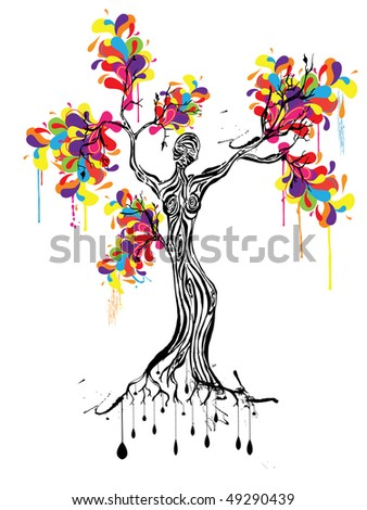 colorful tree with women silhouette - stock vector