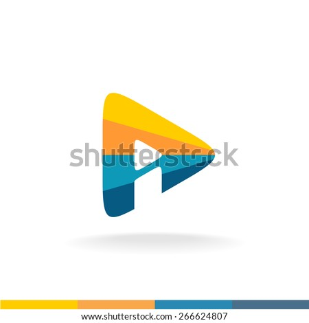 Colorful triangle play button with letter I inside forming letter A shape. Monogram of A and I letters. - stock vector