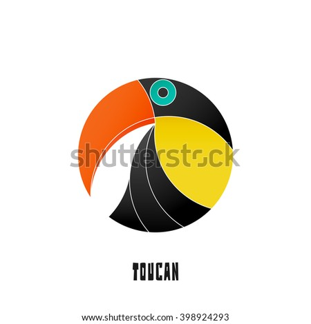colorful, tropical bird icon isolated on white background. vector toucan logo design. wild, cute bird character. popular, stylized South America travel mascot. funny, exotic birds symbol - stock vector