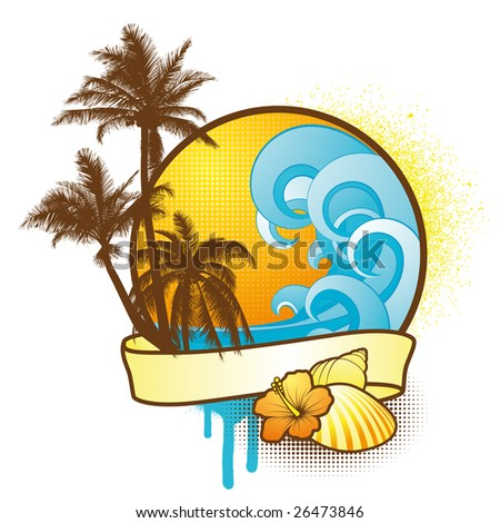 Colorful Tropical Design Element - stock vector