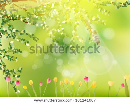 Colorful tulips in the park. And also includes EPS 10 vector - stock vector