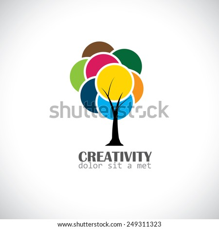 colorful unique tree with vibrant leaves - abstract concept vector icon representing symbol of creativity and imagination - stock vector