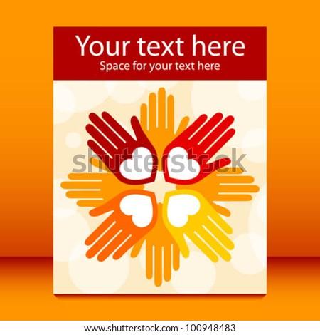 Colorful united loving hands leaflet design. - stock vector