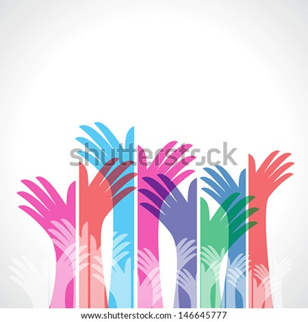 colorful up hands, vector illustration - stock vector