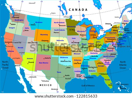 Colorful USA map with states and capital cities - stock vector