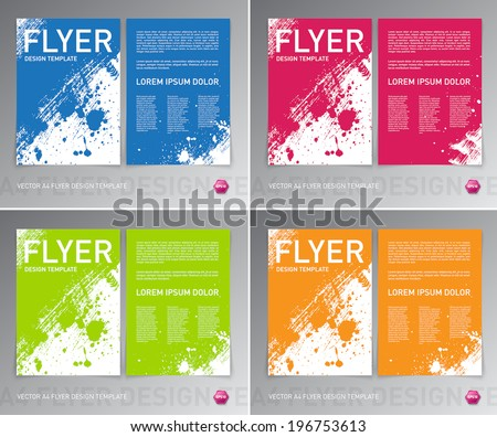 Colorful vector abstract artistic brush stroke and splatter flyer templates collection. Blue red green and yellow - stock vector