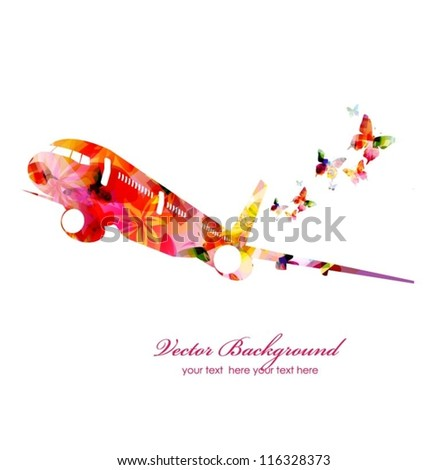 Colorful vector airplane with butterflies - stock vector