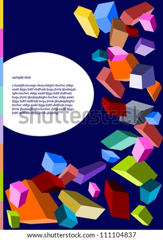 colorful vector backdrop design with dimensional cubes and place for your text isolated in white oval frame - stock vector