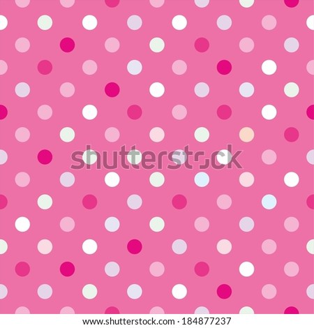 Colorful vector background with red, green, blue and yellow polka dots on baby pink background - stock vector