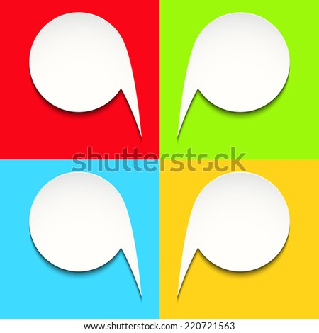 Colorful vector background with white speech bubbles - stock vector