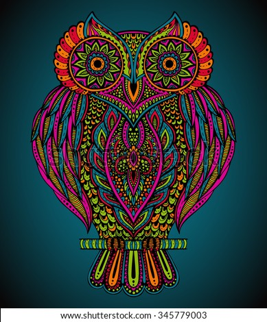 Colorful vector beautiful hand drawn ornate  owl in zentangle style for  t-shirt, bag, postcard, poster - stock vector