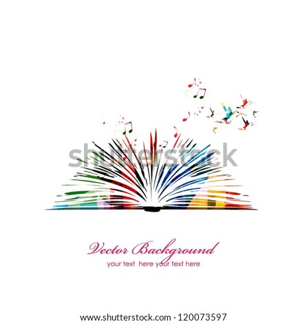 Colorful vector book with hummingbirds - stock vector