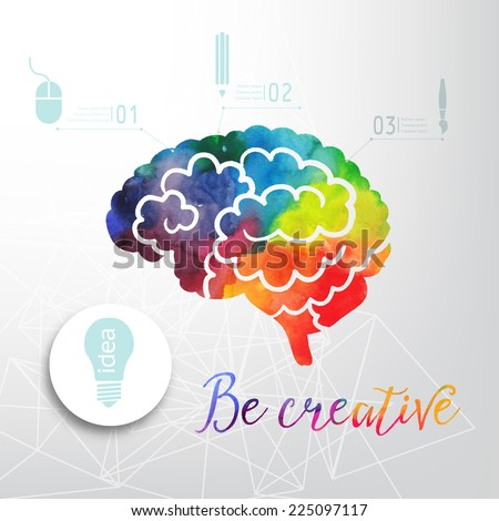 Colorful vector brain icon, banner and business icon. Watercolor creative concept of the human brain. Vector concept - creativity and brain. Lettering. quote - stock vector