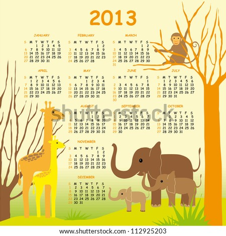 Colorful Vector Calendar 2013 for Children with Giraffes, Elephants and a Monkey - stock vector