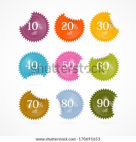 Colorful Vector Discount Stickers, Labels  - stock vector