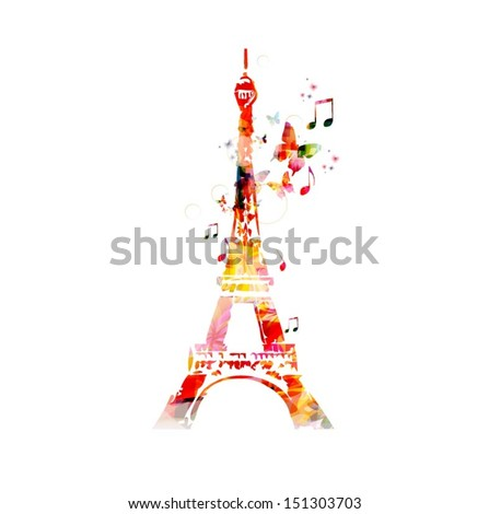 Colorful vector Eiffel Tower background with butterflies  - stock vector