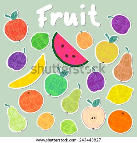 Colorful vector felt tip marker pen drawn fruit sticker with orange, pear, plum, lemon, watermelon slice, banana, lime, apricot and apple, easy edit color - stock vector