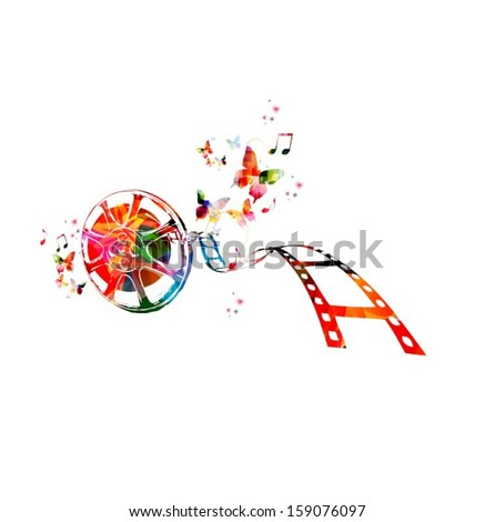 Colorful vector film strip background with butterflies. - stock vector