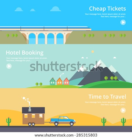 Colorful vector flat banner set. Quality design illustrations, elements and concept - Hotel booking, House at the lake, Mountain hotel, Cheap tickets, Home on wheels, Time travel - stock vector