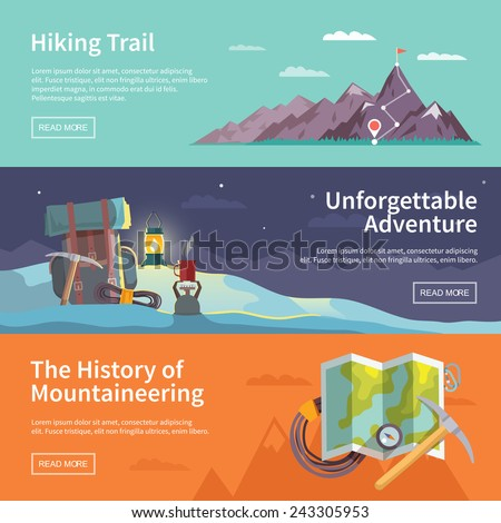 Colorful vector flat banner set. Quality design illustrations, elements and concept. The history of mountaineering. Unforgettable adventure. Hiking trail. - stock vector
