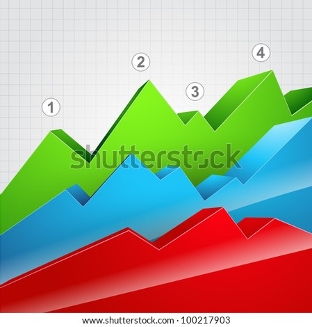 colorful vector graph showing stats - stock vector