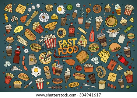 Colorful vector hand drawn Doodle cartoon set of objects and symbols on the fast food theme - stock vector
