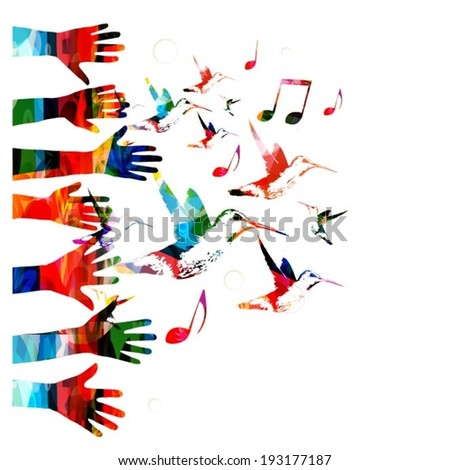 Colorful vector hands background with hummingbirds - stock vector