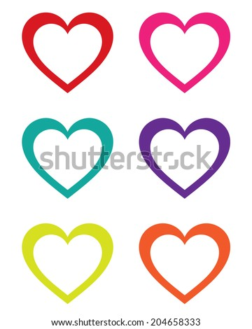 Colorful vector heart frame and icon set - stock vector