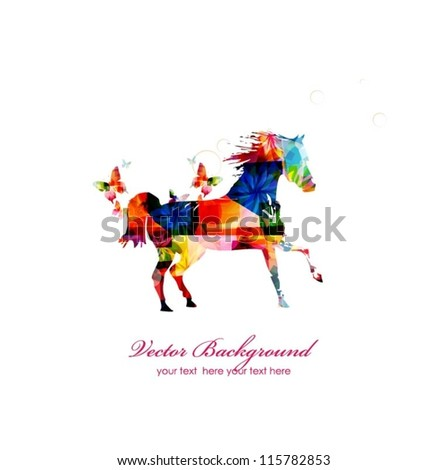 Colorful vector horse with butterflies - stock vector