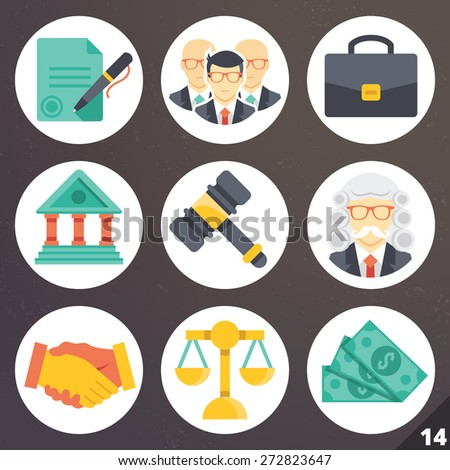 Colorful vector icons for web and mobile applications. Law and justice concept. Isolated on stylish dark background. Set 14 - stock vector