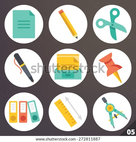 Colorful vector icons for web and mobile applications.  Office supplies concept. Isolated on stylish dark background. Set 5 - stock vector
