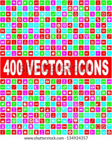 colorful vector icons set - stock vector