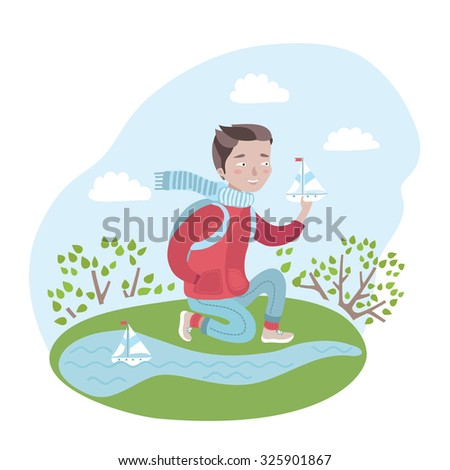 Colorful vector illustration of a cute happy in red jacket sit on his haunches, holding his hand in his pocket and toy boat in his other hand. He is sailing toy boats on pond in spring. Windy weather  - stock vector