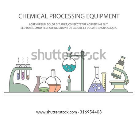 Colorful vector illustration of chemical processing equipment - Beaker, burner, test tubes, microscope, retorts - and place for text. Linear design. Concept design for chemistry, medicine, science etc - stock vector