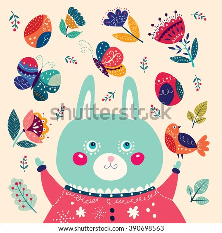 Colorful vector illustration with cute rabbit, butterflies and flowers. Happy Easter greeting card - stock vector