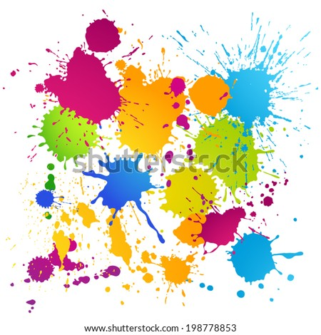 Colorful vector ink blots background - stock vector