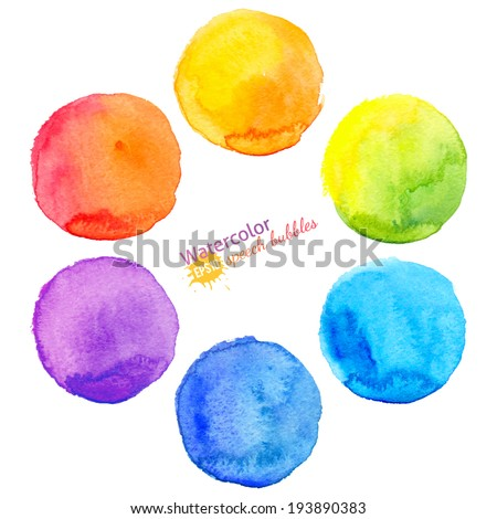 Colorful vector isolated watercolor paint circles - stock vector
