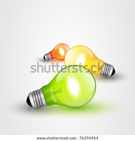 Colorful Vector Light bulbs - stock vector