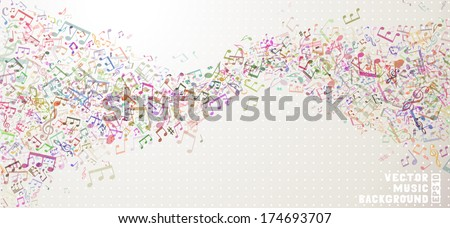 Colorful vector music background. Set of various music elements on light background. Music abstract wave of notes and treble clefs. EPS 10.  - stock vector